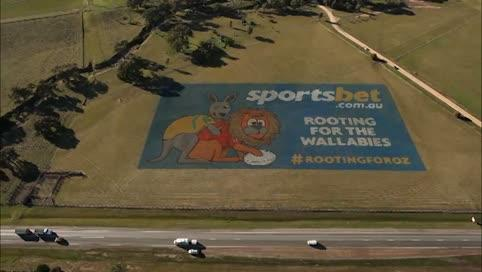 Helicopter view of a iant billboard created by sportsbet.com.au of a wallaby rooting a lion